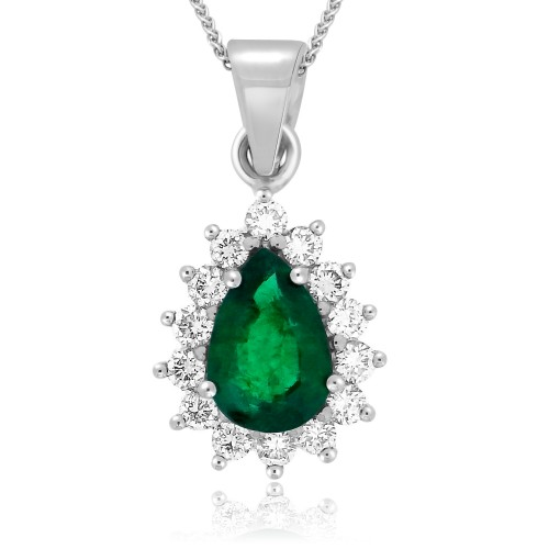 Emerald Pear & Diamond Cluster Pendant