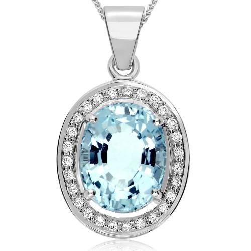 Aquamarine & Diamond Rubover Cluster Pendant