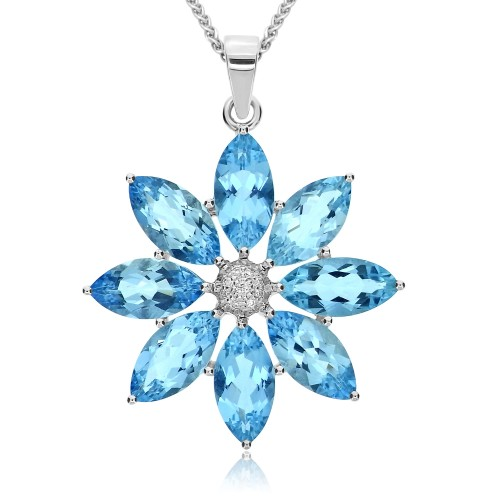 Aquamarine & Diamond Flower Pendant