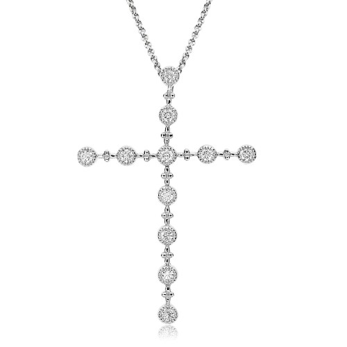 Diamond Beaded Cross Pendant