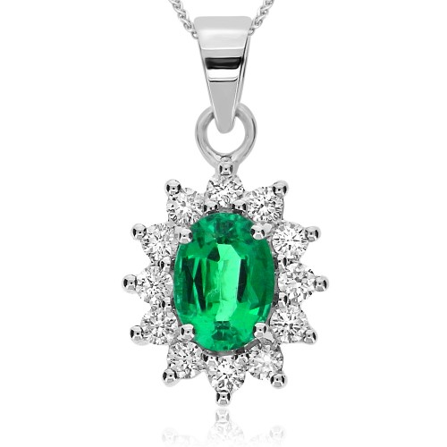 Emerald Oval & Diamond Cluster Pendant