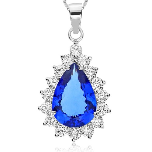 Tanzanite Pear & Diamond Cluster Pendant