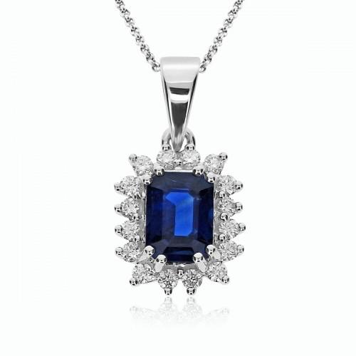 Sapphire Emerald Cut & Diamond Cluster Pendant
