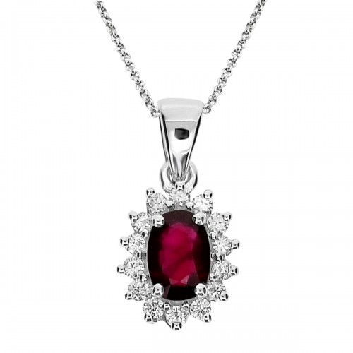 Ruby Oval & Diamond Cluster Pendant