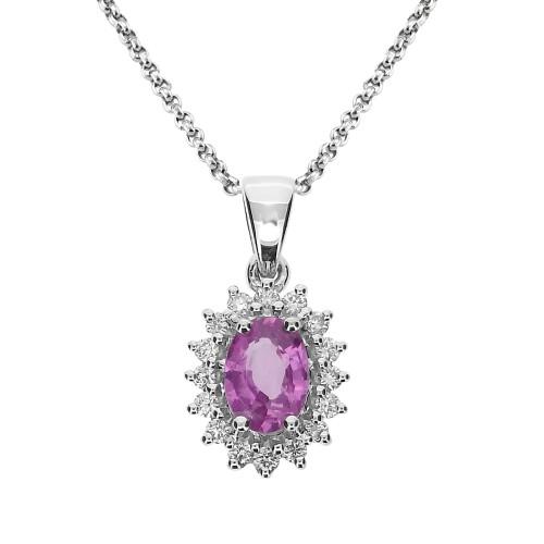 Pink Sapphire & Diamond Cluster Pendant
