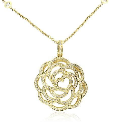 Diamond Camellia Pendant