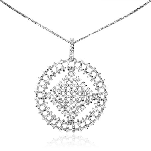 Diamond Fancy Lattice Round Pendant