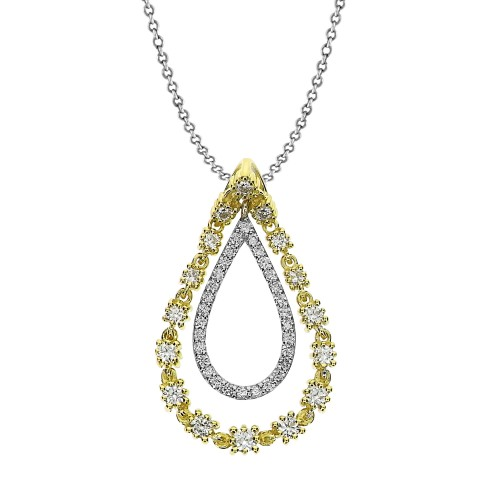 Diamond Fancy Pave Outline Double Pear Drop Pendant