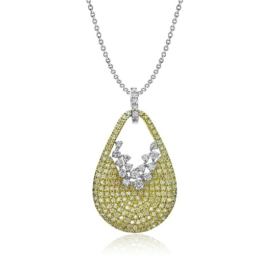 Diamond Fancy Pave Pearshape with Cluster Pendant