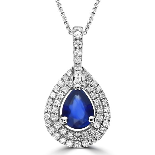 Sapphire & Diamond Double Halo Pendant