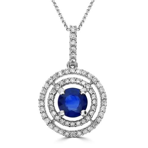 Sapphire & Diamond Target Halo Pendant