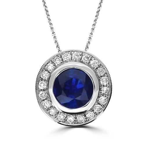 Sapphire & Diamond Halo Rubover Pendant