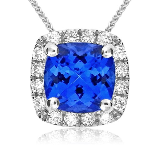 Tanzanite Cushion & Diamond Halo Pendant