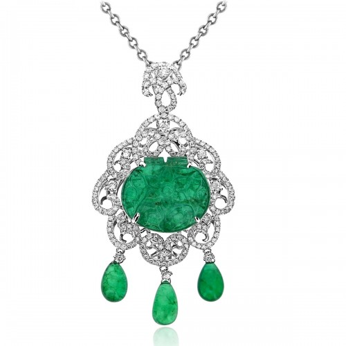 Emerald Oval Carving & Diamond Drop Fancy Pendant