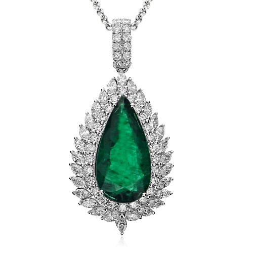 Emerald Pear & Diamond Fancy Cluster Pendant