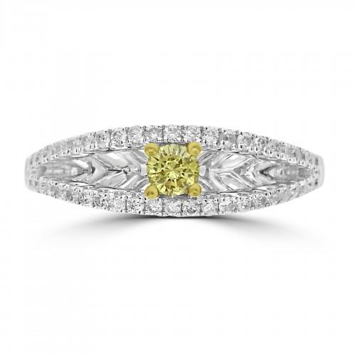 18WG Fancy Yellow RBC w/ Pavé Set Edges Dress Ring
