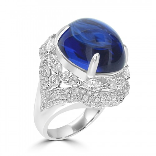 Tanzanite Oval Cabochon with Diamond Marquise Fancy Surround Ring