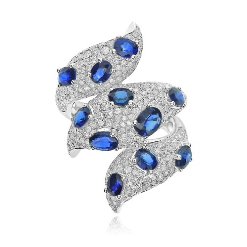Sapphire & Diamond Fancy Cocktail Ring