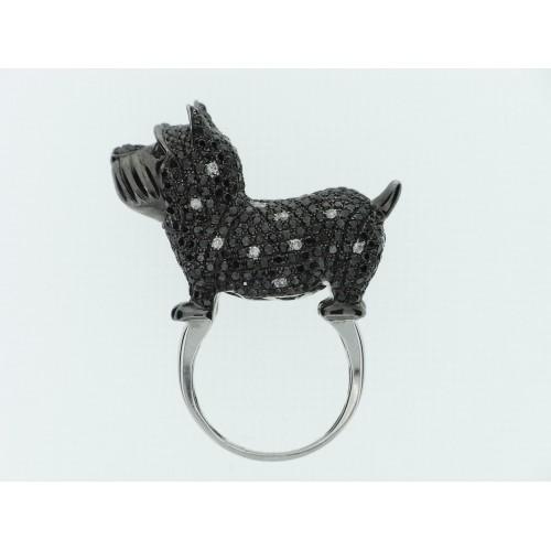 18WG Black/White RBC Scottie Dog Ring