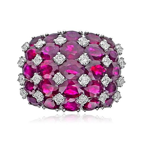 Ruby Squares with Diamonds Domed Cocktail Ring