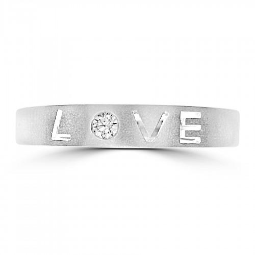 18WG Love Ring w/ RBC Satin Finish