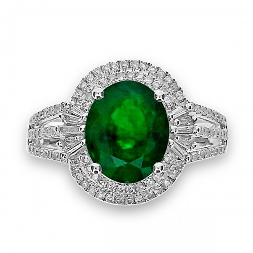 Emerald Oval with Diamond Double Halo & 3 Split Shoulders Ring