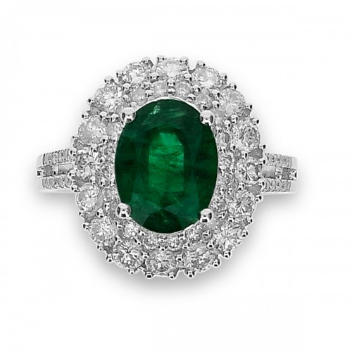 Emerald Oval with Diamond Double Halo & 2 Row Split Shoulders Ring
