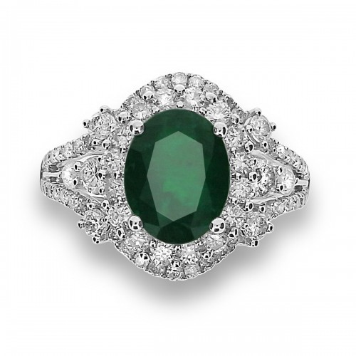 Emerald Oval with Diamond Double Halo & Fancy Split Shoulders  Ring