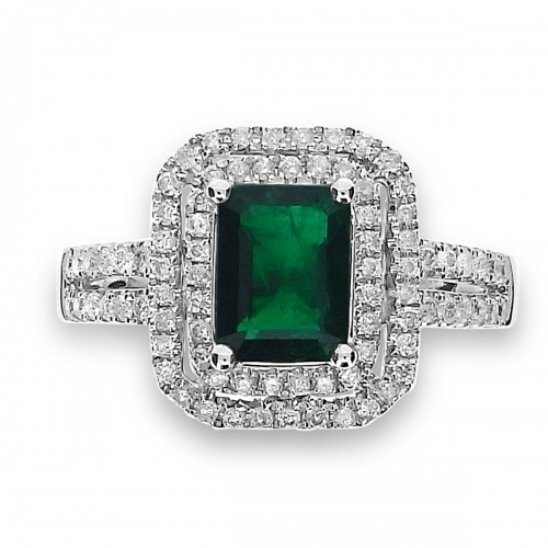 Emerald with Diamond Double Halo Ring