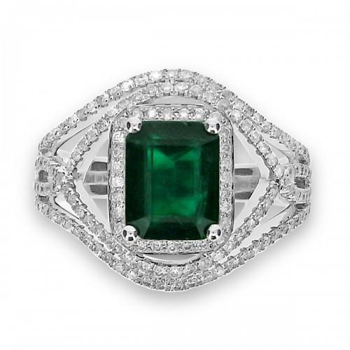 Emerald with Diamond Halo & Fancy Wave Wide Shoulders Ring