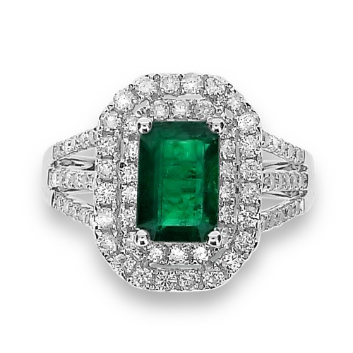 Emerald with Diamond Double Split Halo & Triple Split Shoulders Ring