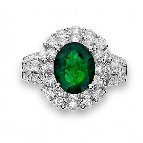 Emerald Oval with Diamond Double Cluster Surround Ring
