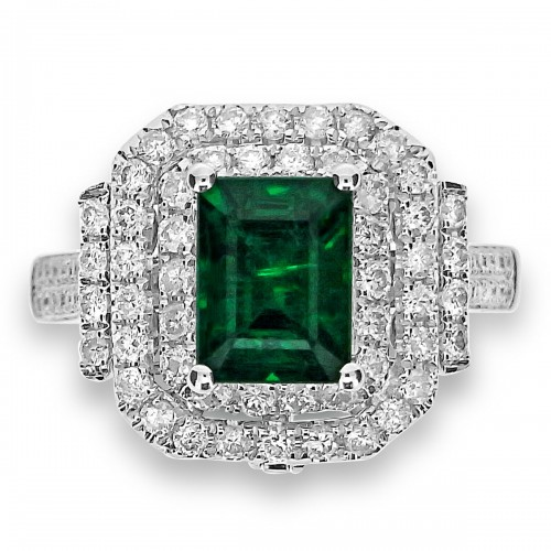 Emerald with Diamond Double Halo Deco Style Ring