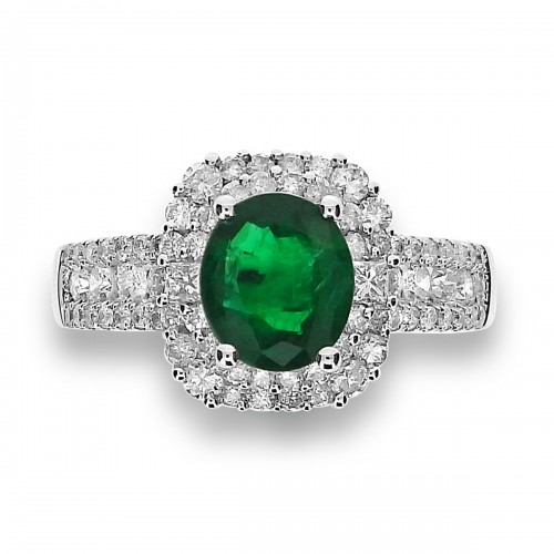 Emerald Oval with Diamond Double Halo & Wide Pave Shoulders Ring