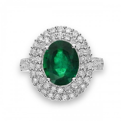 Emerald Oval with Diamond Double Halo Ring