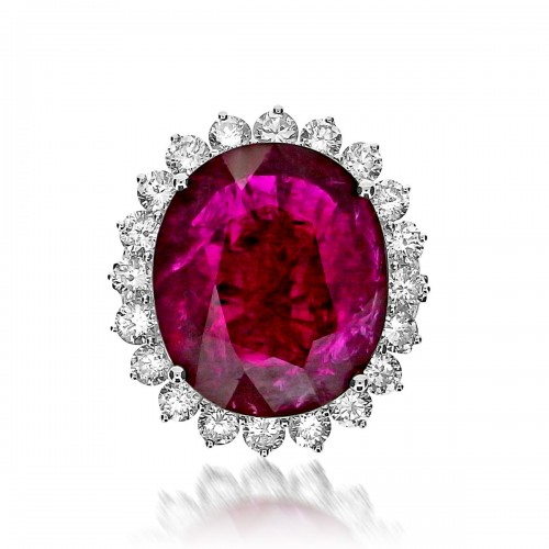 Ruby Oval and Diamond Cluster & Split Shoulders Ring