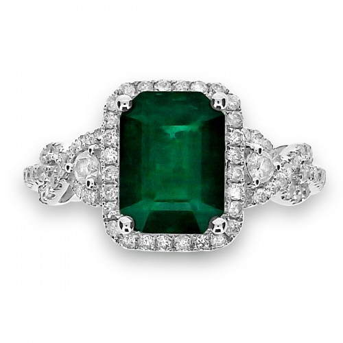 Emerald with Diamond Halo & Looped Fancy Shoulders Ring