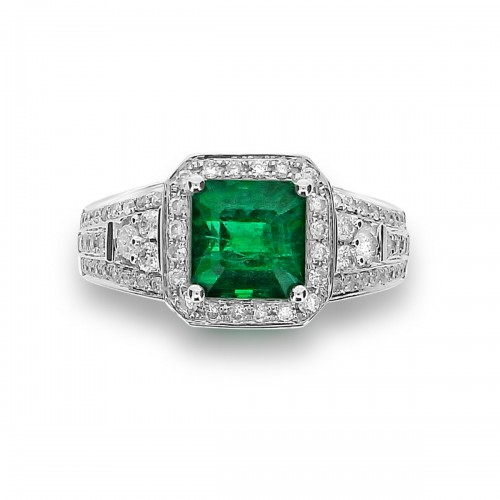 Emerald with Diamond Halo & Wide Fancy Shoulders Ring