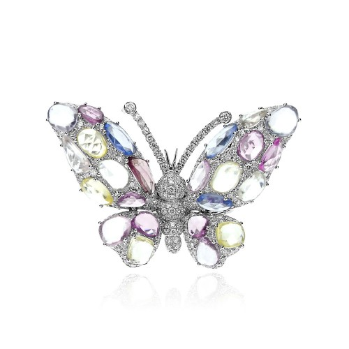 Multi Coloured Sapphire & Diamond Butterfly Ring