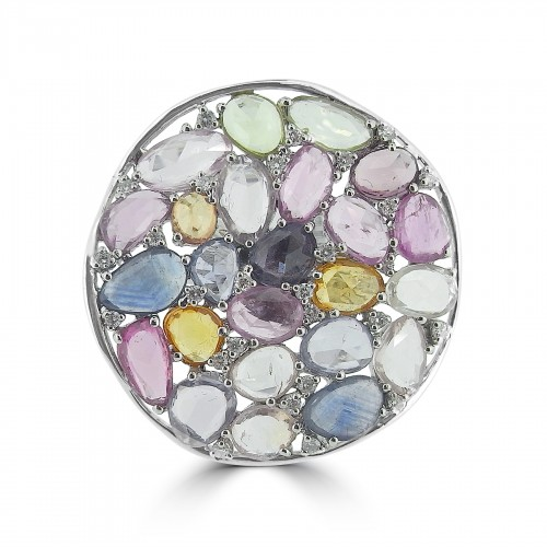 Coloured Sapphire Rosecuts 12.98ct & RBC Large Round Cocktail Ring