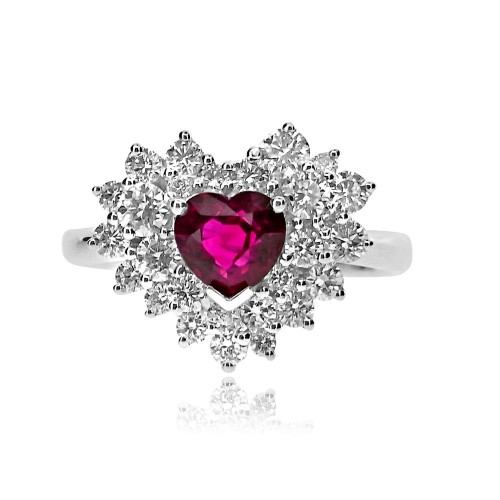 Ruby Heart Shape and Diamond Fancy Cluster Ring