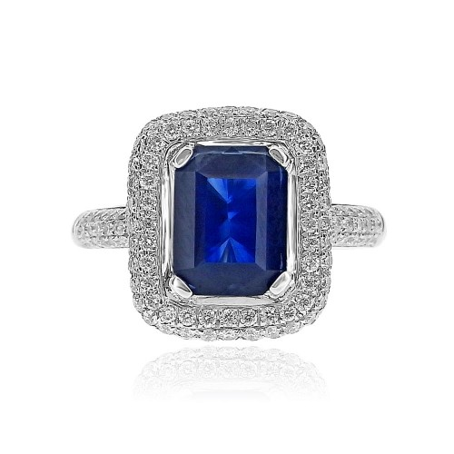 Sapphire Octagon with Diamond Double Pave Halo Surround Ring