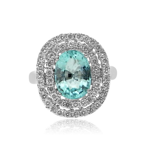 Paraiba Tourmaline with Diamond Double Halo Surround Ring