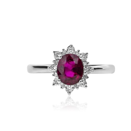 Ruby Oval and Diamond Fancy Cluster Ring