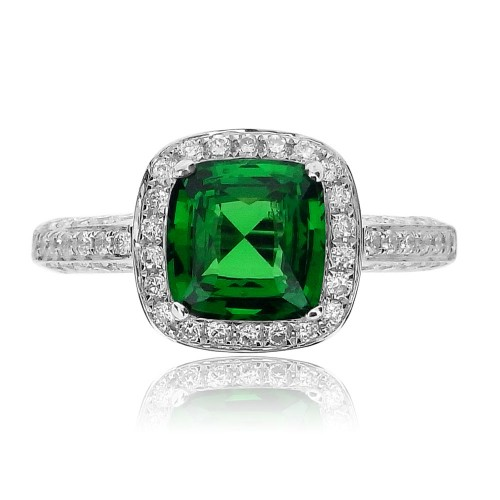 Tsavorite Cushion & Diamond Surround Ring