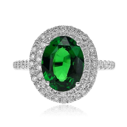 Tsavorite Oval with Diamond Double Halo Surround Ring