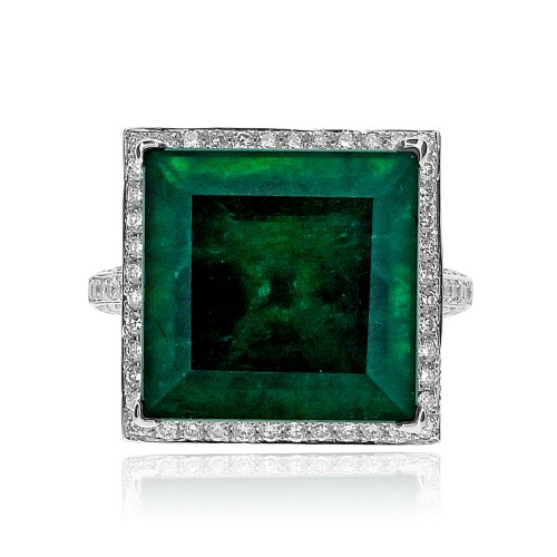 Emerald Square with Diamond Halo Ring