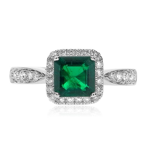 Emerald Square Octagon with Diamond Halo Ring