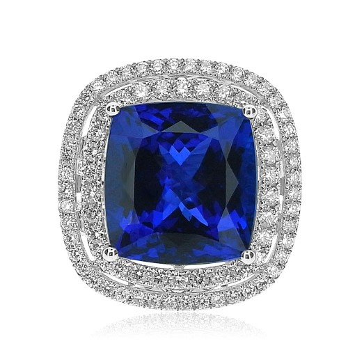 Tanzanite Cushion & Diamond Double Surround Ring