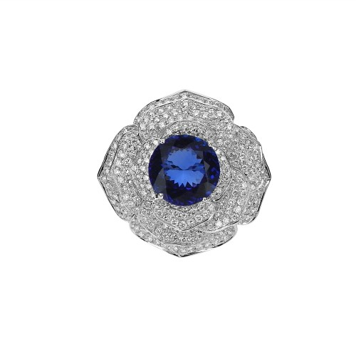 Tanzanite with Diamond Pave Petals Fancy Flower Cocktail Ring